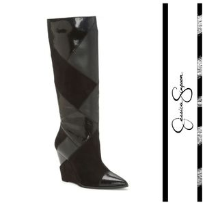 Vintage Inspired Jessica Simpson Patchwork Boots